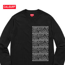 WEEK2★SS18 Supreme Stacked L/S Top/BLACK/Sサイズ