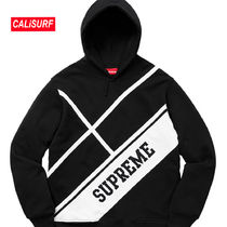 WEEK2★SS18 Supreme Diagonal Hooded Sweater/BLACK/Sサイズ