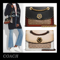 SS18新作☆COACH☆Parker with ボーダーリベット&スネークスキン
