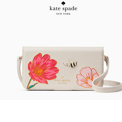 【新作】katespade embroidered bee crossbody iphone x case