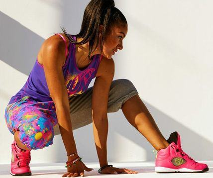 ZUMBA フィットネストップス XS ♪ZumbaズンバQueen Of The Jungle High Neck Tank-Purple M(2)
