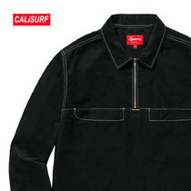 WEEK2★SS18 Supreme Corduroy Half Zip Shirts/BLACK/Sサイズ