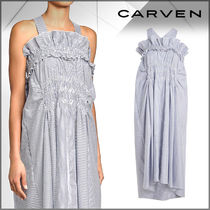 CARVEN(カルヴェン)★Striped Cotton Ruched Dress
