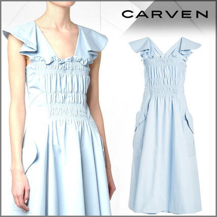 CARVEN ワンピース CARVEN(カルヴェン)★Ruched Cotton Dress
