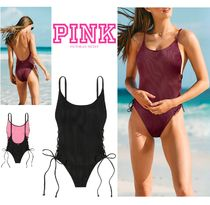 即発送!PINK新作♪スタイルUP♡RIBBED LACE-UP ONE-PIECE