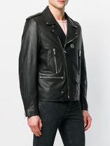 18SS SLP354 GRAINED LEATHER MOTORCYCLE JACKET WITH MEDALLION