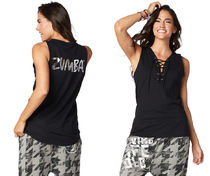 新作♪ZumbaズンバZumba Lace It Up Tank-Bold Black