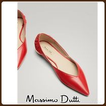MassimoDutti♪POINTED RED LEATHER BALLERINAS