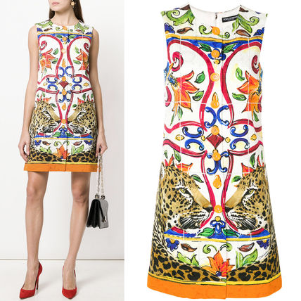 18SS DG1474 MAJOLICA & LEOPARD PRINTED BROCADE DRESS