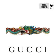 GUCCI  Hand painted leather belt with Dragon buckle