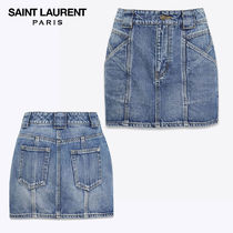 【正規品保証】SAINT LAURENT★18春夏★MINI SKIRT_BLUE