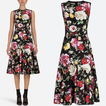 18SS DG1483 FLORAL PRINT COTTON DRILL FLARE DRESS