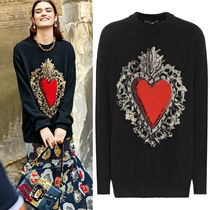 18SS DG1494 SACRED HEART INTARSIA CASHMERE BLEND SWEATER