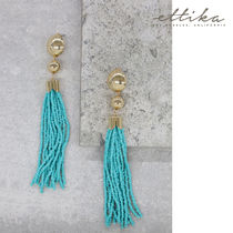 Beaded Mini Duster Earring in Turquoise and Gold ピアス