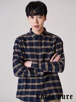 【8SECONDS】Preppy Check Pocket Number Shirt   - 2colors