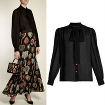 18SS DG1500 SILK CHIFFON BLOUSE WITH BOW TIE