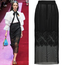 18SS DG1501 LOOK63 MESH MIDI SKIRT WITH LACE DETAIL