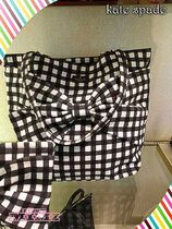 軽量トートKate Spade★ON PURPOSE BLACK GINGHAM CANVAS TOTE