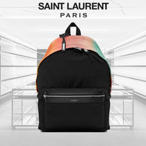 SALE SAINT LAURENT CANVAS MULTICOLORED SATIN CITY BACKPACK