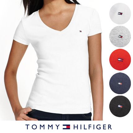 Tommy Hilfiger Tシャツ・カットソー 国内在庫【1-3日】Tommy Hilfiger トミー ロゴ Vネック Tシャツ