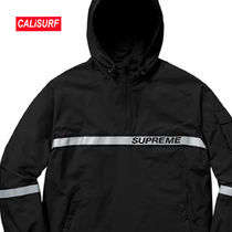 WEEK3★SS18 Supreme Reflective Taping Hooded-BLACK/Lサイズ