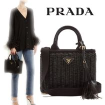 【18SS】大注目!!★PRADA★Canvas and wicker woven bag