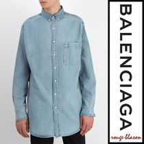 【国内発送】Balenciaga シャツ Oversized logo denim shirt