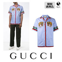 GUCCI  Oxford bowling shirt with tigers embroidered patches