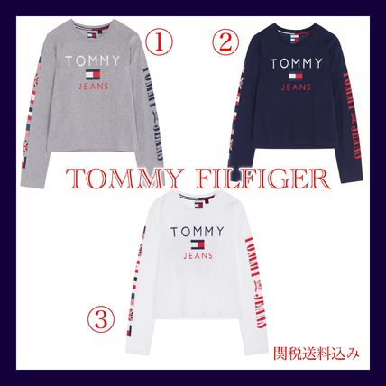 TOMMY JEANS★トミ― 新作 ロゴ入り クロップド ロンT