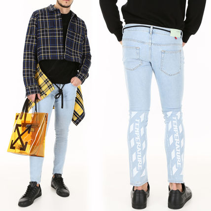 OFF WHITE Skinny Jeans With Temperature Print