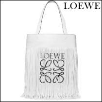 【LOEWE(ロエベ)】 Fringed printed leather tote