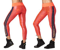 新作♪ZumbaズンバZumba Laced Up Leggings-Coral Craze