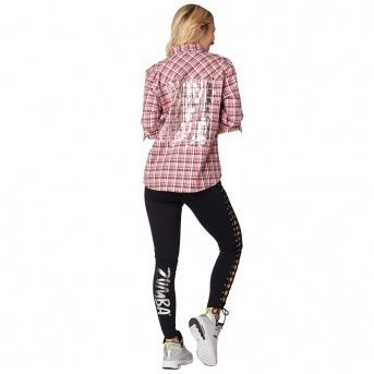 ZUMBA フィットネストップス ★国内発送★ ズンバ Zumba Living Life Button Up Red(5)