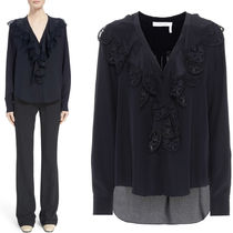 18SS C323 SILK BLOUSE WITH RUFFLED LACE TRIM