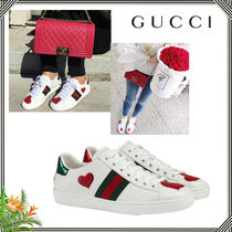 ∴Gucci∴ Ace Web HEARTレザーロートップスニーカー
