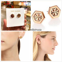 即発 Tory Burch★HEX LOGO STUD EARRING ピアス*ROSE GOLD