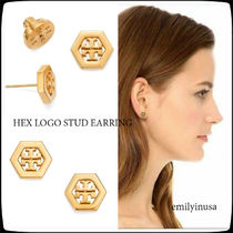 即発 Tory Burch★HEX LOGO STUD EARRING ピアス*GOLD