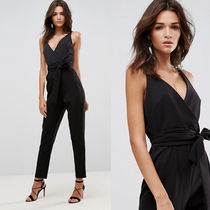 ASOS Wrap Front Jumpsuit with Peg Leg and Self Belt ブラック