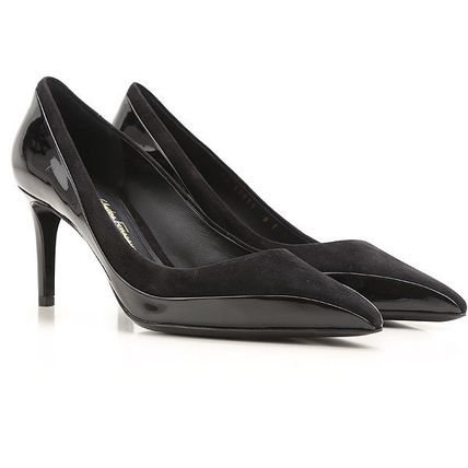 Patent & Suede Leather Pumps パテント&スエードパンプス