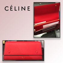 Celine★ LARGE FLAP MULTIFUNCTION 長財布レアREDxRED 追跡付
