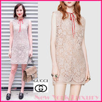 GUCCI★グッチ★素敵!LACE SLEEVELESS RED RIBBON TIE DRESS