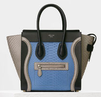 CELINE Micro Luggage Tote Bag In Sea Blue Python Leather