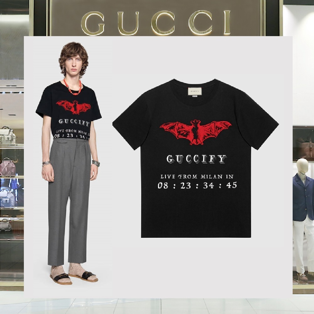 GUCCI 2018 SS U-Neck Other Animal Patterns Cotton Short Sleeves T-Shirts  (493117 X3N25 1082)