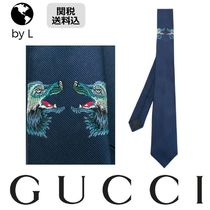 【関税送料込】 GUCCI  Wolf embroidered silk tie
