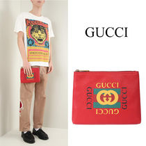 GUCCI グッチ ヴィンテージ プリント レザーポーチ 4956650GDAT