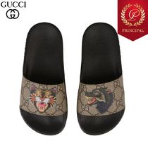 ◆SS18 GUCCI グッチ Cat And Wolf プリントスリップサンダル