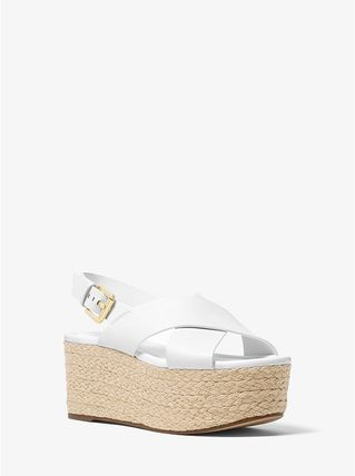 Michael Kors サンダル・ミュール 【Michael Kors】Jodi Leather Espadrille Wedge 新作★厚底(3)