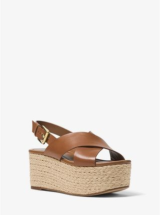 Michael Kors サンダル・ミュール 【Michael Kors】Jodi Leather Espadrille Wedge 新作★厚底(5)
