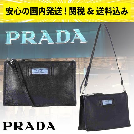 【安心の関税込】PRADA(プラダ)・Etiquette leather strapclutch
