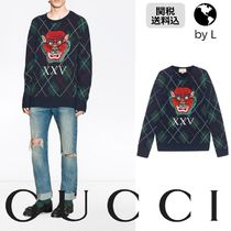 【関税送料込】 GUCCI  Argyle wool pullover with appliques